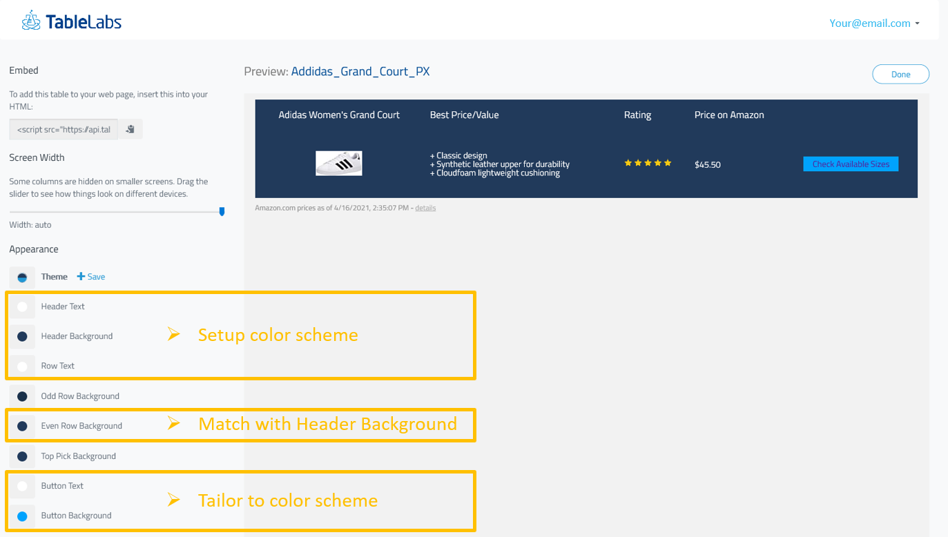 Design color scheme for amazon product box with TableLabs