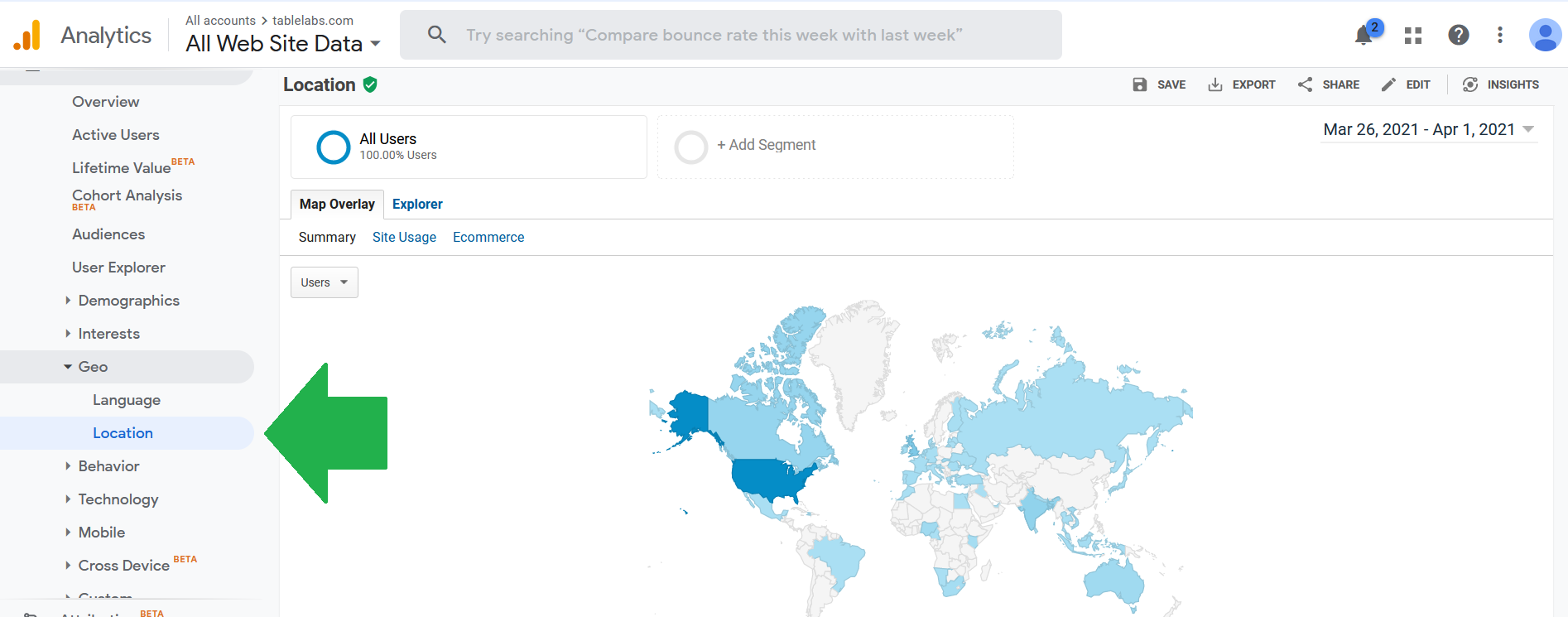 Global traffic map for an Amazon product comparison chart (via Google Analytics)