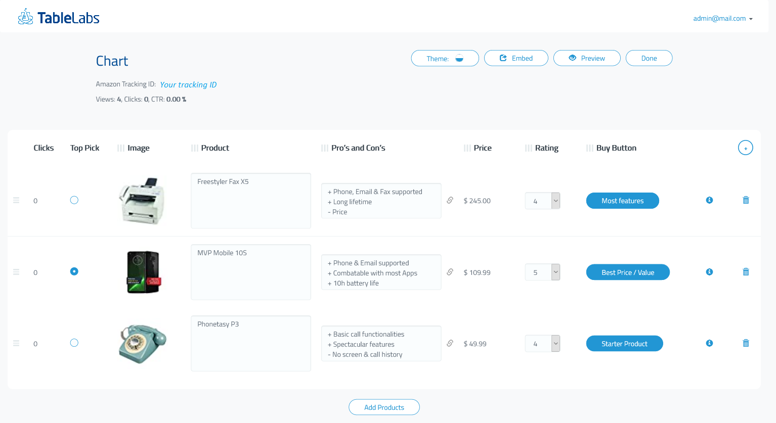 Personalize product compare chart by tailoring descriptions and the order of your table.