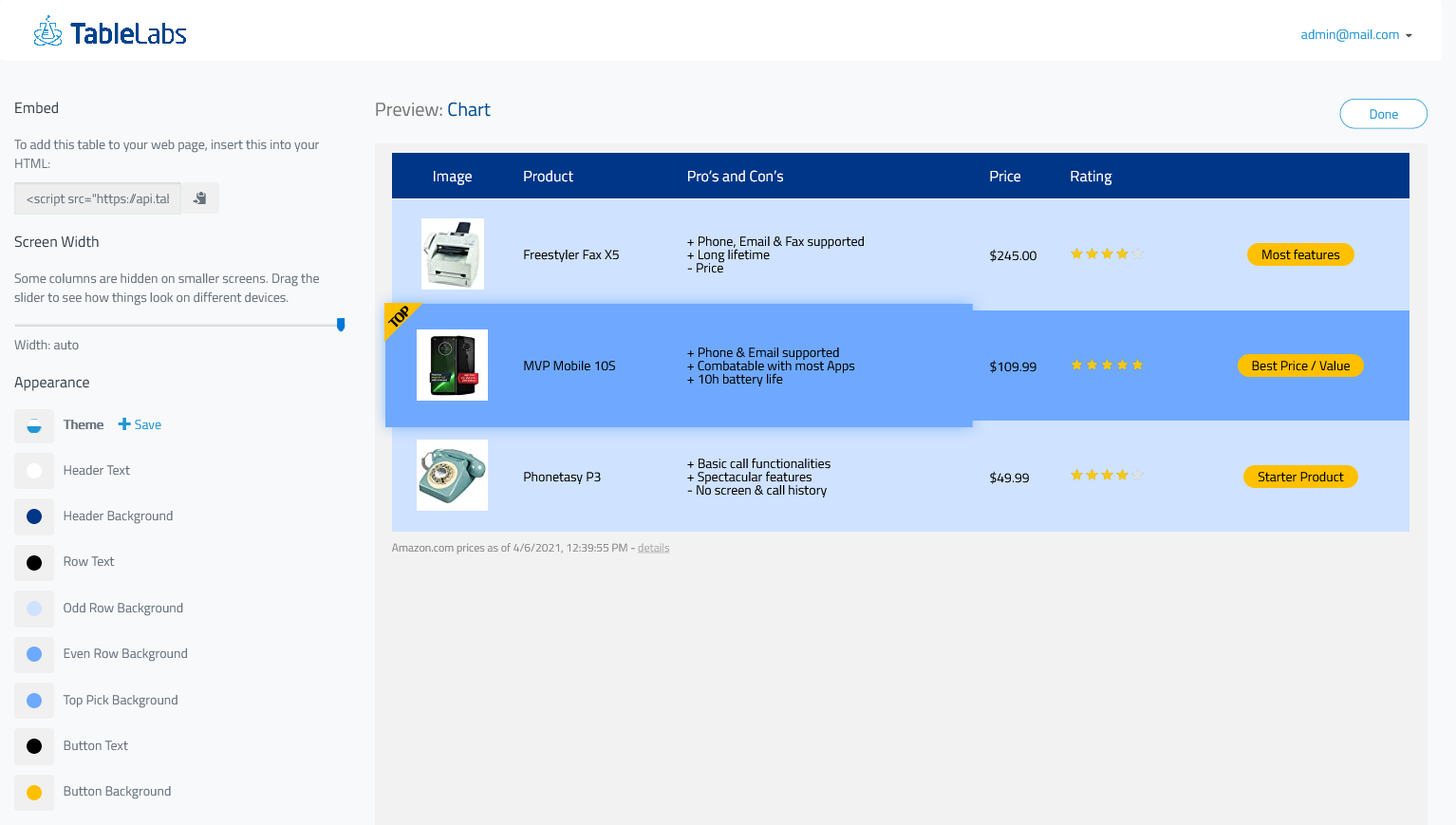 Personalization for product comparison chart example